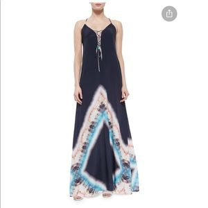 Silk tie dye maxi dress